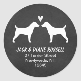 Jack Russell Terrier Silhouettes Return Address Classic Round Sticker