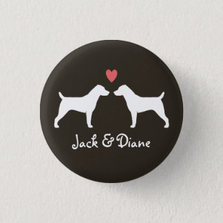Jack Russell Terrier Silhouettes with Heart 1 Inch Round Button