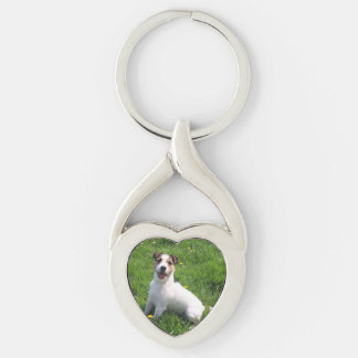 Jack-Russell_Terrier sitting in grass Silver-Colored Twisted Heart Keychain
