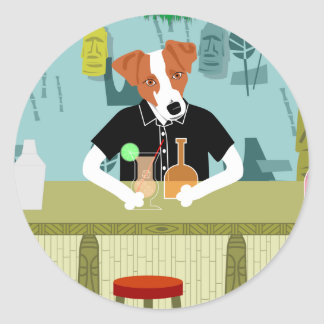 Jack Russell Terrier Tiki Bar Classic Round Sticker
