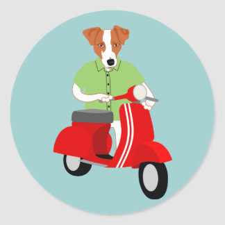 Jack Russell Terrier Vespa Scooter Classic Round Sticker