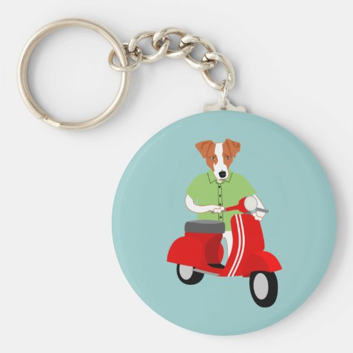 Jack Russell Terrier Vespa Scooter Key Chain