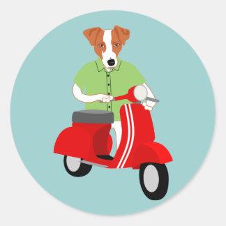 Jack Russell Terrier Vespa Scooter Round Sticker