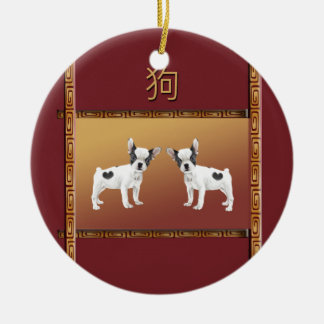 Jack Russell Terriers Asian Design Chinese Ceramic Ornament