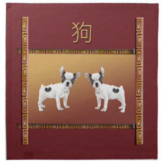 Jack Russell Terriers Asian Design Chinese Napkin