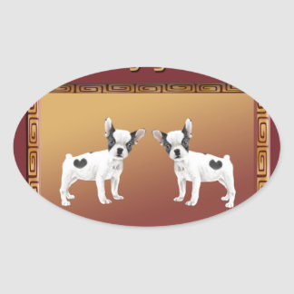 Jack Russell Terriers Asian Design Chinese Oval Sticker
