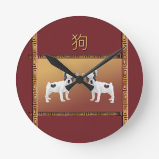Jack Russell Terriers Asian Design Chinese Round Clock