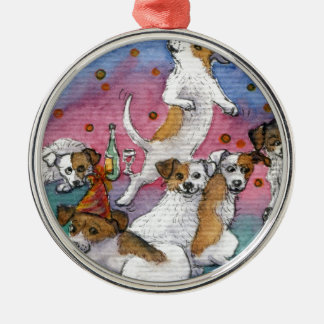 Jack Russell Terriers at a party Silver-Colored Round Ornament