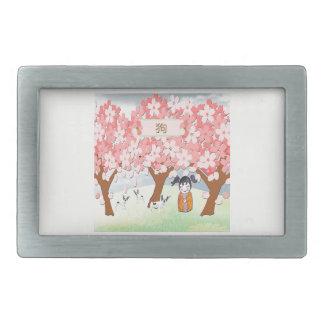 Jack Russell Terriers, Chinese Girl, Plum Tree Belt Buckle