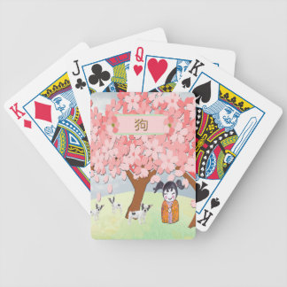 Jack Russell Terriers, Chinese Girl, Plum Tree Bicycle Playing Cards