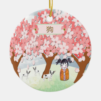 Jack Russell Terriers, Chinese Girl, Plum Tree Ceramic Ornament