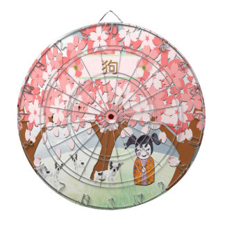 Jack Russell Terriers, Chinese Girl, Plum Tree Dartboard