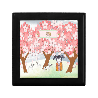 Jack Russell Terriers, Chinese Girl, Plum Tree Gift Box