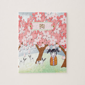 Jack Russell Terriers, Chinese Girl, Plum Tree Jigsaw Puzzle