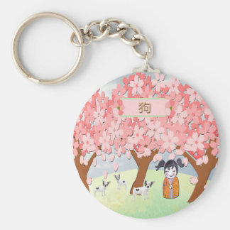 Jack Russell Terriers, Chinese Girl, Plum Tree Keychain