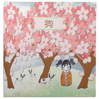 Jack Russell Terriers, Chinese Girl, Plum Tree Napkin