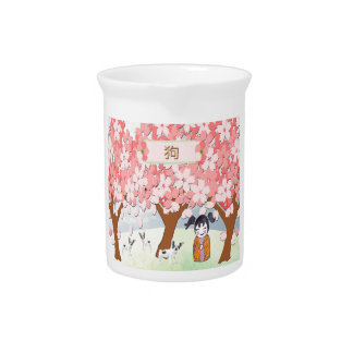 Jack Russell Terriers, Chinese Girl, Plum Tree Pitcher