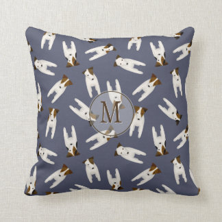 Jack Russell Terriers slate blue monogrammed Throw Pillow