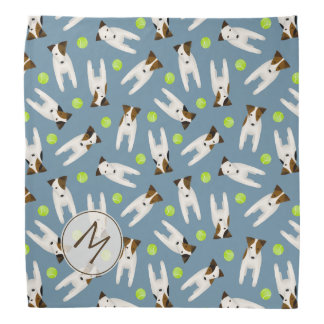 Jack Russell Terriers w tennis balls monogrammed Bandana