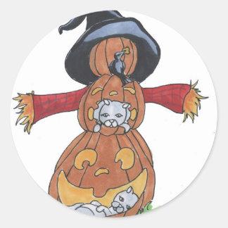 Jack Scarecrow Round Stickers