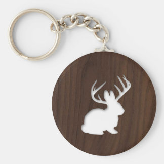Jackalope on Dark Brown Wood Basic Round Button Keychain