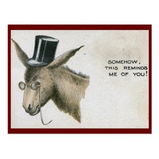 Jackass in a Top Hat Vintage Postcard