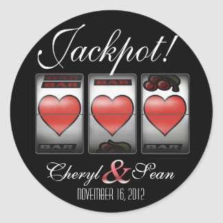 Jackpot Hearts We're Doing It In Vegas (Large) Classic Round Sticker