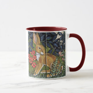 Jackrabbit in Flower Garden, Tile Design Mug