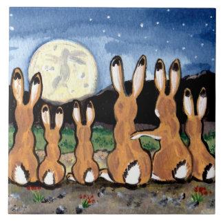 "Jackrabbits Watching Moon Dark Blue 6"" Tile Trivet"