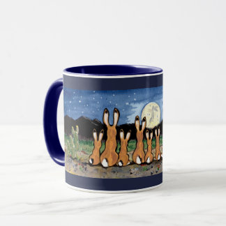 Jackrabbits Watching Moon Dark Blue Designer Mug