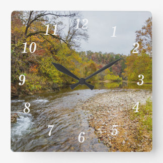 Jacks Fork Autumn Square Wall Clock