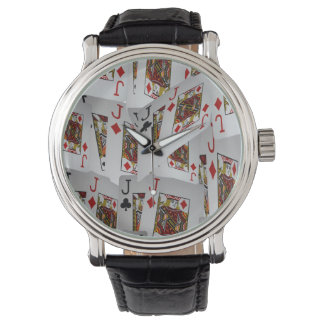 Jacks In A Layered Pattern, Mens Leather Watch. Wrist Watches