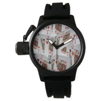 Jacks In Pattern, Mens Black Rubber Strap Watch. Watches