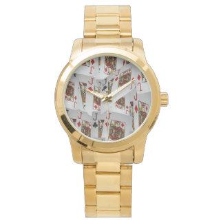 Jacks In Pattern, Unisex Large Gold Watch. Wrist Watches