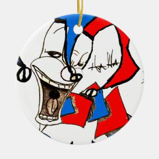 Jacks in the Box (Clown Sketch) Round Ceramic Ornament