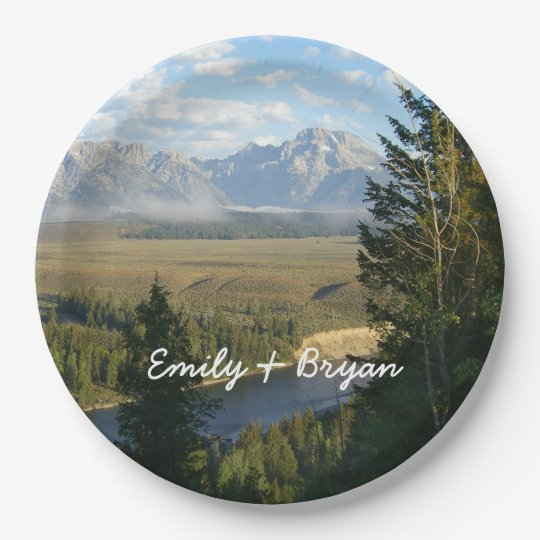 Jackson Hole Mountains and River 9 Inch Paper Plate