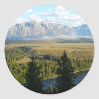 Jackson Hole Mountains and River Classic Round Sticker