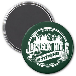 Jackson Hole Old Circle Green 3 Inch Round Magnet