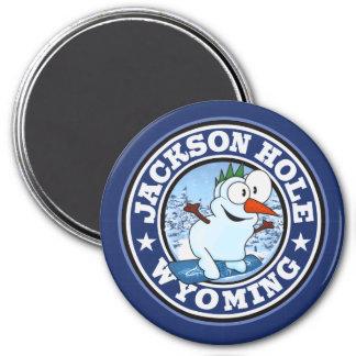 Jackson Hole Snowman CIrcle 3 Inch Round Magnet