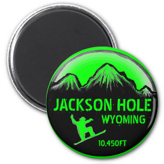 Jackson Hole Wyoming green snowboard art magnet