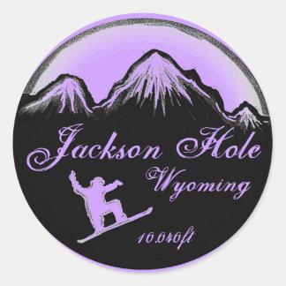 Jackson Hole Wyoming purple snowboard art stickers
