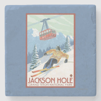 Jackson Hole, Wyoming Skier and Tram Stone Coaster