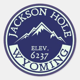 Jackson Hole Wyoming Skiing Snowboarding Ski Classic Round Sticker