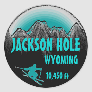 Jackson Hole Wyoming teal ski art stickers