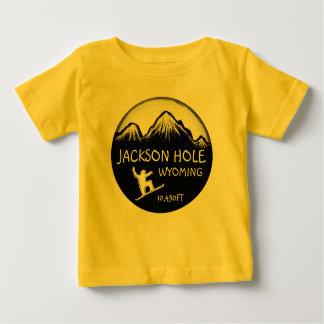 Jackson Hole Wyoming yellow baby snowboard art tee
