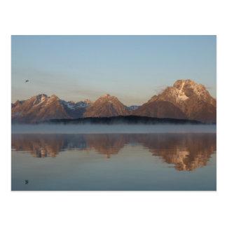 Jackson Lake Dam Reflection in Grand Teton Park Postcard