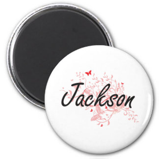 Jackson Mississippi City Artistic design with butt 2 Inch Round Magnet