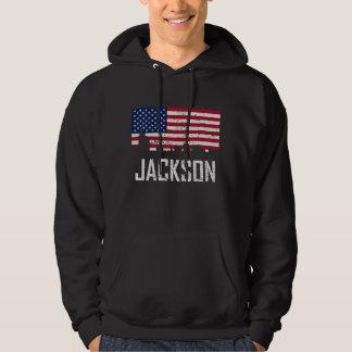 Jackson Mississippi Skyline American Flag Distress Hoodie