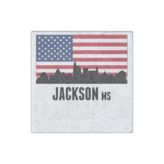 Jackson MS American Flag Stone Magnets
