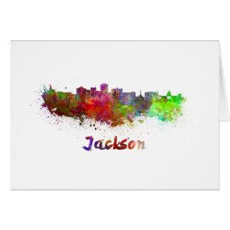 Jackson skyline in watercolor card
